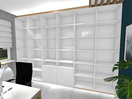 Aranżacje wnętrz - Biuro: Biuro sekretarki - Średnie szare turkusowe biuro pracownia domowe w pokoju, styl nowoczesny - DOMdecor Studio Klaudiusz Klepacki. Przeglądaj, dodawaj i zapisuj najlepsze zdjęcia, pomysły i inspiracje designerskie. W bazie mamy już prawie milion fotografii!