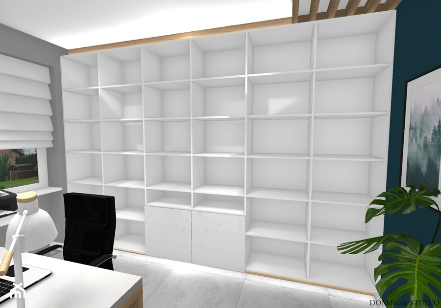Biuro sekretarki - Średnie szare turkusowe biuro pracownia domowe w pokoju, styl nowoczesny - zdjęcie od DOMdecor Studio Klaudiusz Klepacki