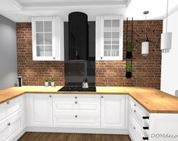 Kuchnia w stylu angielskim/glamour - Średnia otwarta biała szara kuchnia w kształcie litery u z oknem, styl glamour - zdjęcie od DOMdecor Studio Klaudiusz Klepacki