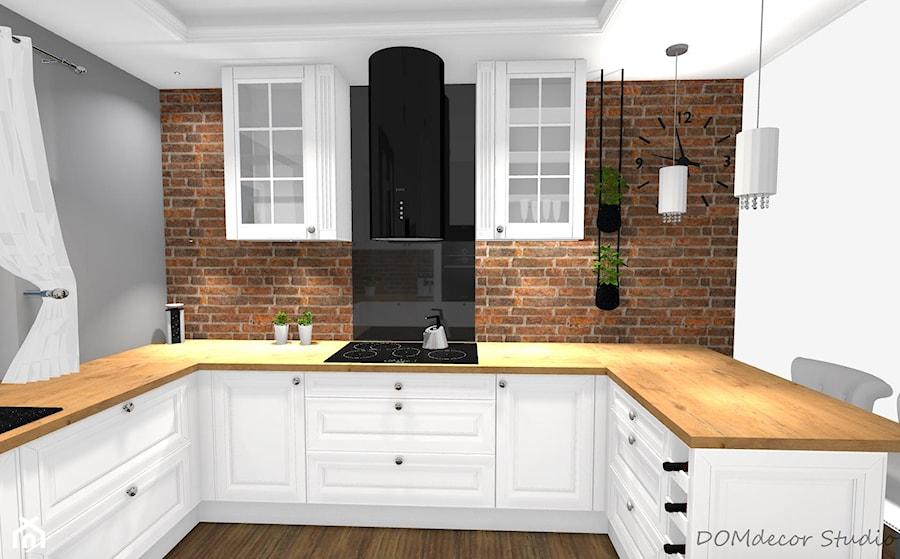 Kuchnia W Stylu Angielskim Glamour Srednia Otwarta Biala Szara