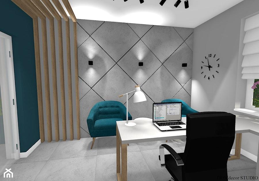 Biuro sekretarki - Średnie niebieskie szare biuro domowe kącik do pracy w pokoju, styl nowoczesny - zdjęcie od DOMdecor Studio Klaudiusz Klepacki