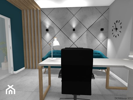 Aranżacje wnętrz - Biuro: Biuro sekretarki - Średnie szare turkusowe biuro domowe kącik do pracy w pokoju, styl nowoczesny - DOMdecor Studio Klaudiusz Klepacki. Przeglądaj, dodawaj i zapisuj najlepsze zdjęcia, pomysły i inspiracje designerskie. W bazie mamy już prawie milion fotografii!