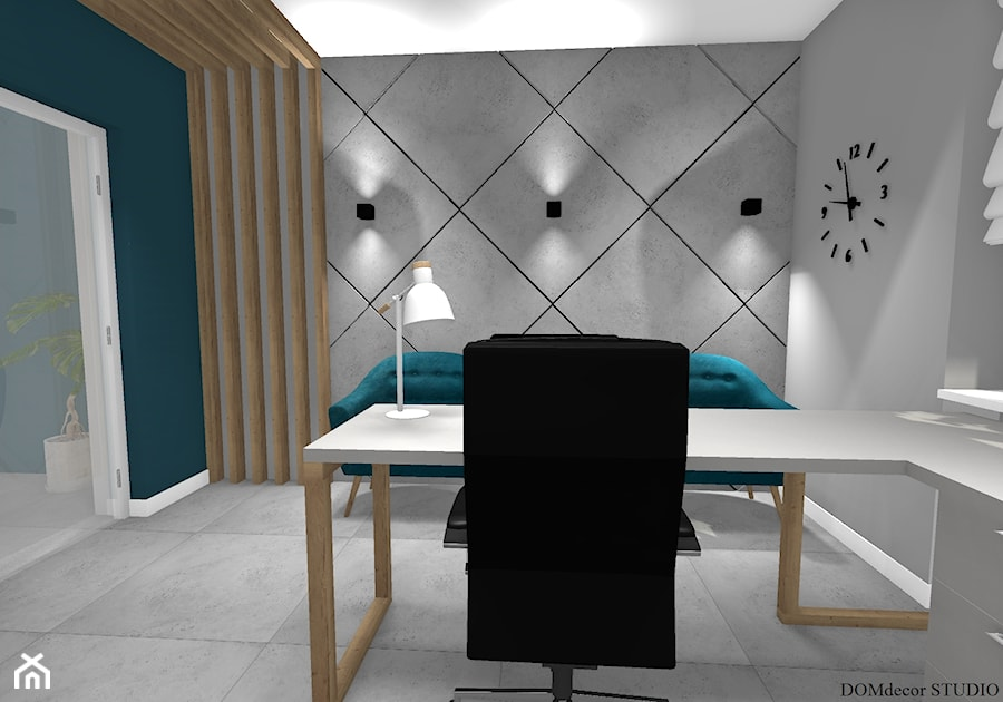 Biuro sekretarki - Średnie szare turkusowe biuro domowe kącik do pracy w pokoju, styl nowoczesny - zdjęcie od DOMdecor Studio Klaudiusz Klepacki