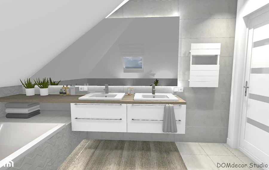 Łazienka przy sypialni ze skosami - Mała szara łazienka na poddaszu w bloku w domu jednorodzinnym z oknem, styl nowoczesny - zdjęcie od DOMdecor Studio Klaudiusz Klepacki