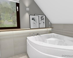 Nowoczesna łazienka na poddaszu - Mała biała szara łazienka na poddaszu w domu jednorodzinnym z oknem, styl nowoczesny - zdjęcie od DOMdecor Studio Klaudiusz Klepacki