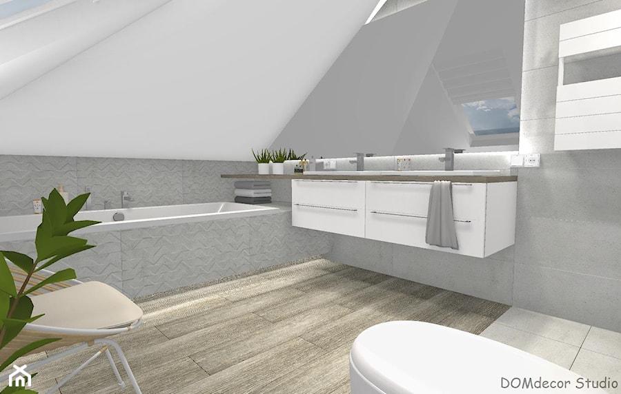 Łazienka przy sypialni ze skosami - Mała szara łazienka na poddaszu w domu jednorodzinnym z oknem, styl nowoczesny - zdjęcie od DOMdecor Studio Klaudiusz Klepacki