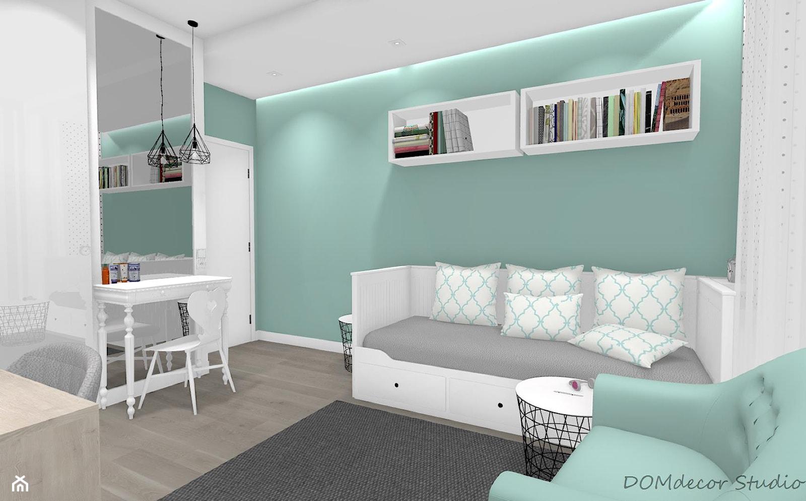 Pokój nastolatki - Średni biały zielony pokój dziecka dla chłopca dla dziewczynki dla ucznia dla nastolatka, styl nowoczesny - zdjęcie od DOMdecor Studio Klaudiusz Klepacki - Homebook