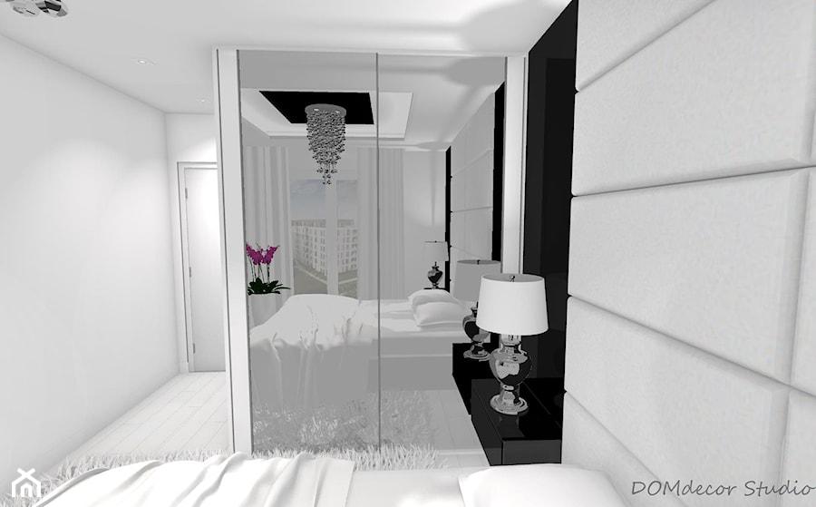 Sypialnia - styl glamour - Mała biała sypialnia małżeńska, styl glamour - zdjęcie od DOMdecor Studio Klaudiusz Klepacki
