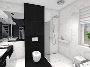 Czarno - biała łazienka z elementami glamour - Średnia biała czarna łazienka na poddaszu w bloku w domu jednorodzinnym z oknem, styl nowoczesny - zdjęcie od DOMdecor Studio Klaudiusz Klepacki
