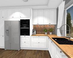 Kuchnia w stylu angielskim/glamour - Duża zamknięta szara kuchnia w kształcie litery l z oknem, styl glamour - zdjęcie od DOMdecor Studio Klaudiusz Klepacki