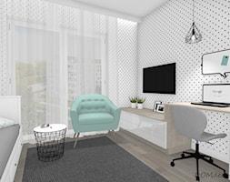 Pokój nastolatki - Średni biały czarny pokój dziecka dla chłopca dla ucznia dla nastolatka, styl no ... - zdjęcie od DOMdecor Studio Klaudiusz Klepacki - Homebook