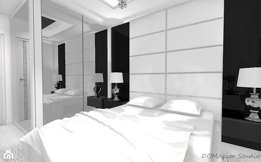 Sypialnia - styl glamour - Mała szara czarna sypialnia małżeńska, styl glamour - zdjęcie od DOMdecor Studio Klaudiusz Klepacki