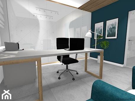 Aranżacje wnętrz - Biuro: Biuro sekretarki - Średnie białe turkusowe biuro pracownia domowe w pokoju, styl nowoczesny - DOMdecor Studio Klaudiusz Klepacki. Przeglądaj, dodawaj i zapisuj najlepsze zdjęcia, pomysły i inspiracje designerskie. W bazie mamy już prawie milion fotografii!