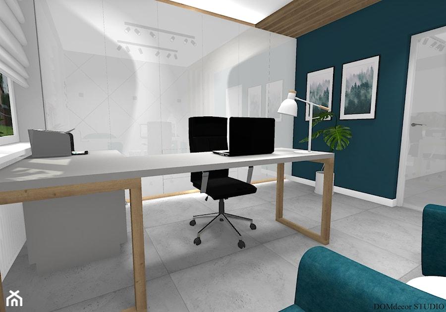 Biuro sekretarki - Średnie białe turkusowe biuro pracownia domowe w pokoju, styl nowoczesny - zdjęcie od DOMdecor Studio Klaudiusz Klepacki
