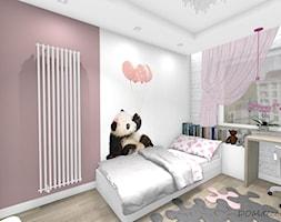 Pokój słodkiej dziewczynki - Mały biały różowy pokój dziecka dla dziewczynki dla ucznia dla nastolatka, styl nowoczesny - zdjęcie od DOMdecor Studio Klaudiusz Klepacki