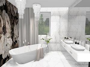Łazienka/Pokój kąpielowy w stylu glamour - Duża łazienka w domu jednorodzinnym jako salon kąpielowy z oknem, styl glamour - zdjęcie od DOMdecor Studio Klaudiusz Klepacki