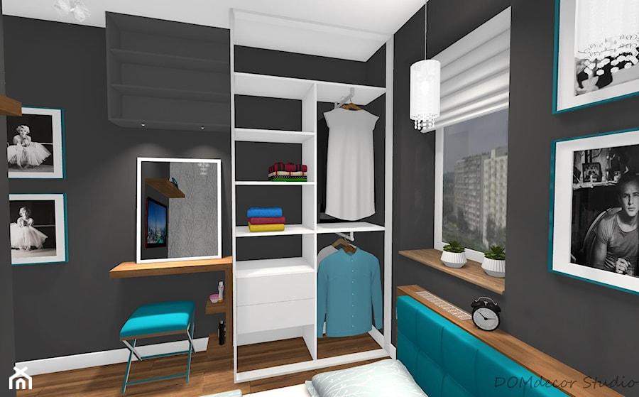 Mała sypialnia z turkusowymi dodatkami - Mała czarna sypialnia małżeńska, styl nowoczesny - zdjęcie od DOMdecor Studio Klaudiusz Klepacki