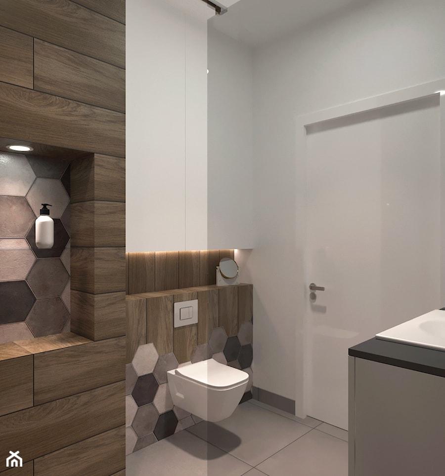 Gres Drewnopodobny Z Płytkami Heksagonalnymi W łazience