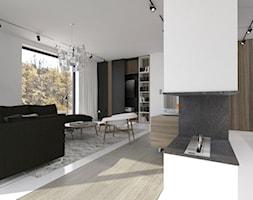 Apartament w Gdyni - Średni biały czarny salon z bibiloteczką, styl minimalistyczny - zdjęcie od EMKU MARCIN KUPTEL