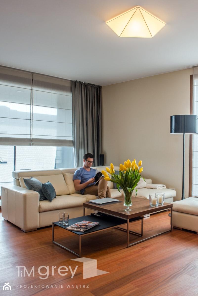 Wilanowski Apartament - Salon, styl nowoczesny - zdjęcie od TiM Grey Projektowanie Wnętrz