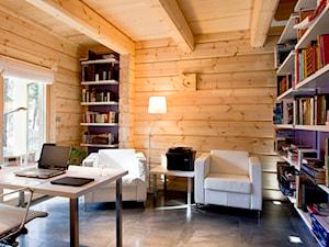 Nowoczesny Dom z finskiego bala - Duże biuro domowe kącik do pracy w pokoju, styl skandynawski - zdjęcie od TiM Grey Projektowanie Wnętrz