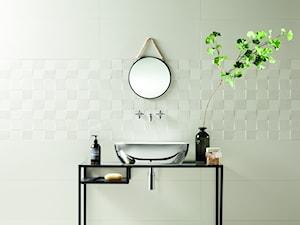 Geometryczne płytki w minimalistycznym wydaniu, czyli oryginalny detal w nowoczesnej łazience