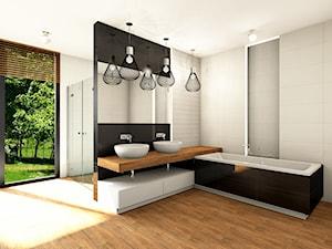 Azario Valencia - Duża szara łazienka na poddaszu w bloku w domu jednorodzinnym z oknem, styl nowoczesny - zdjęcie od BLU Salony Łazienek