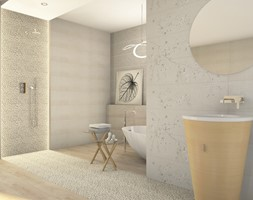 Azario Evatio - Średnia szara łazienka w bloku w domu jednorodzinnym bez okna, styl skandynawski - zdjęcie od BLU Salony Łazienek