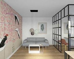 Biuro/gabinet - Duże beżowe białe biuro pracownia domowe kącik do pracy w pokoju, styl industrialny - zdjęcie od pracowniakre5ek