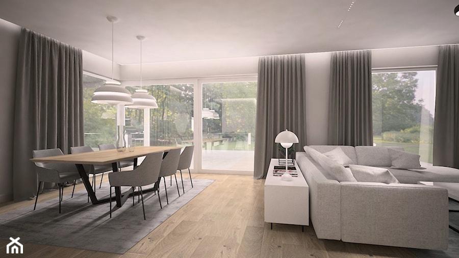 Nowoczesne wnętrze - Duża otwarta biała szara jadalnia w salonie, styl nowoczesny - zdjęcie od MINIFORM - studio architektury wnętrz Aleksandra Patora