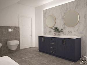 Dom w Żurawnikach koło Lublina - Średnia biała czarna szara łazienka w bloku w domu jednorodzinnym bez okna, styl klasyczny - zdjęcie od COMFY LIFE