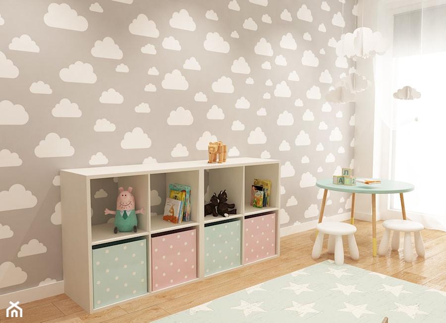 Dom pod Warszawą - Mały biały szary pokój dziecka dla dziewczynki dla ucznia dla malucha, styl nowoczesny - zdjęcie od COMFY LIFE