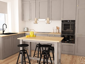 Mieszkanie youtuberki Agisavy - Średnia biała kuchnia w kształcie litery l w aneksie z wyspą z oknem, styl nowoczesny - zdjęcie od COMFY LIFE