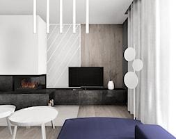 Domy Kwiatowa - Rybnik Zamysłów - dom pokazowy - Średni szary czarny salon, styl nowoczesny - zdjęcie od KOCHAN wnętrza