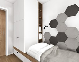 Pokój dla chłopca w wieku szkolnym - Mały biały szary pokój dziecka dla chłopca dla dziewczynki dla nastolatka, styl skandynawski - zdjęcie od KOCHAN wnętrza