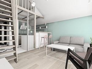 Mieszkanie na wynajem z antresolą - Żory - Średnia otwarta niebieska kuchnia dwurzędowa w aneksie, styl industrialny - zdjęcie od KOCHAN wnętrza