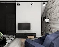Mieszkanie w Żorach - na wynajem - Mały szary biały czarny salon, styl industrialny - zdjęcie od KOCHAN wnętrza