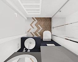 Domy Kwiatowa - Rybnik Zamysłów - dom pokazowy - Mała biała czarna szara łazienka w bloku w domu jednorodzinnym bez okna, styl nowoczesny - zdjęcie od KOCHAN wnętrza