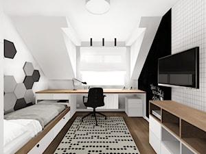 Pokój dla chłopca w wieku szkolnym - Średni biały czarny pokój dziecka dla chłopca dla dziewczynki dla ucznia dla nastolatka, styl skandynawski - zdjęcie od KOCHAN wnętrza