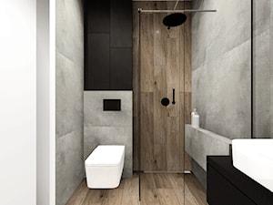Dom w Rybniku - Mała szara łazienka na poddaszu w bloku w domu jednorodzinnym bez okna, styl nowoczesny - zdjęcie od KOCHAN wnętrza