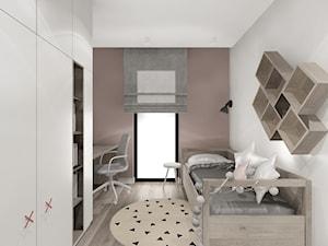 Dom w Rybniku Zamysłowie - Mały szary brązowy pokój dziecka dla chłopca dla dziewczynki dla ucznia dla malucha dla nastolatka, styl nowoczesny - zdjęcie od KOCHAN wnętrza