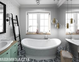 Dom w Koninie - Mała biała łazienka w bloku w domu jednorodzinnym z oknem, styl vintage - zdjęcie od Magda Mikołajczyk PRACOWNIA PROJEKTOWANIA WNĘTRZ
