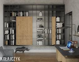 DOM W TORUNIU - Duże szare biuro domowe kącik do pracy w pokoju, styl nowoczesny - zdjęcie od Magda Mikołajczyk PRACOWNIA PROJEKTOWANIA WNĘTRZ