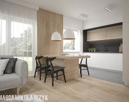 NOWOCZESNY DOMEK - Średnia otwarta biała kuchnia jednorzędowa z oknem, styl skandynawski - zdjęcie od Magda Mikołajczyk PRACOWNIA PROJEKTOWANIA WNĘTRZ
