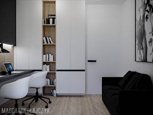 APARTAMENT KONIN_80MKW_01_2019 - Średnie szare białe biuro domowe w pokoju, styl nowoczesny - zdjęcie od Magda Mikołajczyk PRACOWNIA PROJEKTOWANIA WNĘTRZ