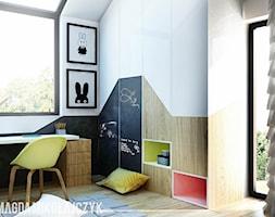 DOM W TORUNIU - Mały biały czarny pokój dziecka dla chłopca dla dziewczynki dla ucznia dla malucha dla nastolatka, styl nowoczesny - zdjęcie od Magda Mikołajczyk PRACOWNIA PROJEKTOWANIA WNĘTRZ