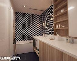 MIESZKANIE W WARSZAWIE - Mała biała czarna łazienka bez okna, styl nowoczesny - zdjęcie od Magda Mikołajczyk PRACOWNIA PROJEKTOWANIA WNĘTRZ