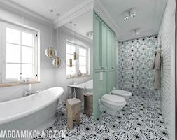 Dom w Koninie - Duża łazienka w bloku w domu jednorodzinnym z oknem, styl vintage - zdjęcie od Magda Mikołajczyk PRACOWNIA PROJEKTOWANIA WNĘTRZ