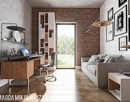 DOM W TORUNIU - Średnie szare biuro domowe kącik do pracy w pokoju, styl nowoczesny - zdjęcie od Magda Mikołajczyk PRACOWNIA PROJEKTOWANIA WNĘTRZ