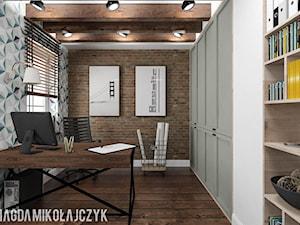 Dom w Koninie - Średnie brązowe kolorowe biuro pracownia, styl vintage - zdjęcie od Magda Mikołajczyk PRACOWNIA PROJEKTOWANIA WNĘTRZ
